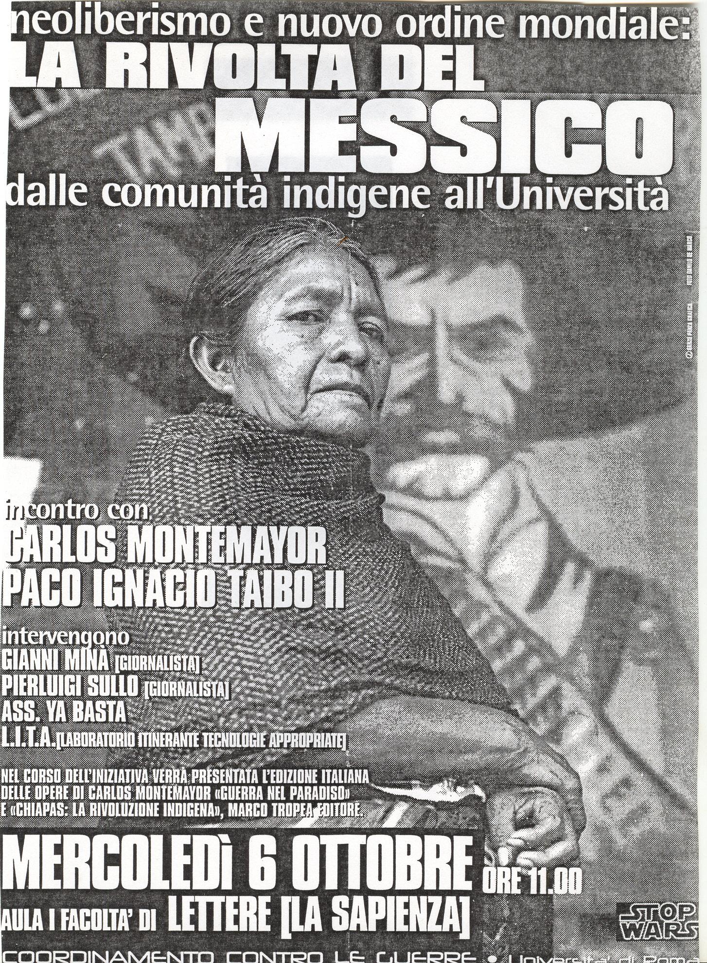 Hzm.=Cartel  encuentro  Montemayor y Taibo Roma