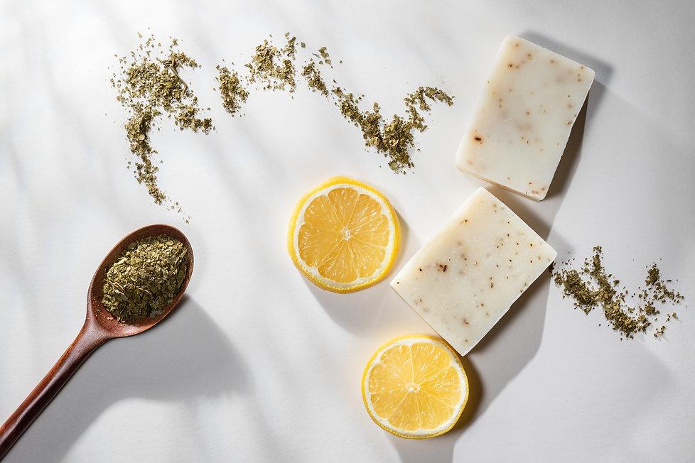 Flat lay of two handmade lemon tea bar s