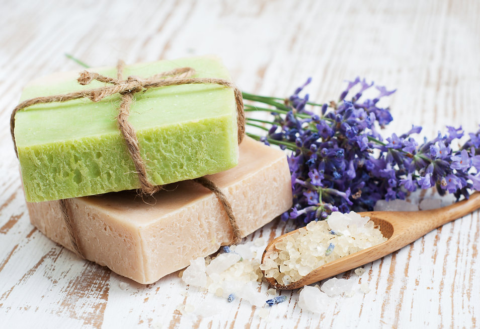 Natural handmade Herbal Soap with leaves
