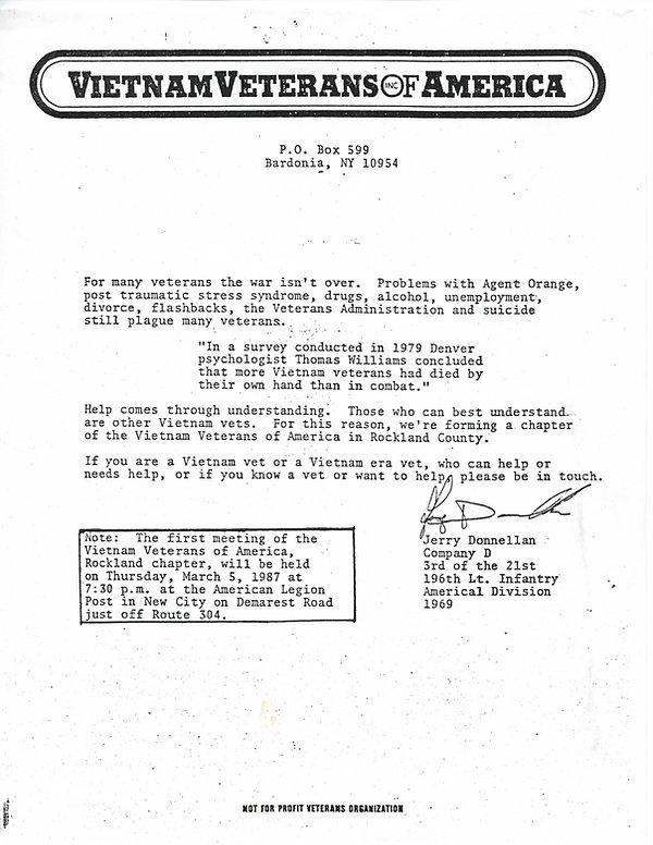 Invitation to start VVA-333 March 5, 198