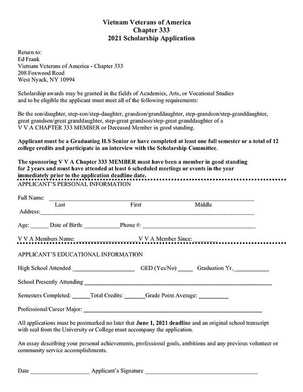 2021 V V A Chapter 333 Scholarship App f