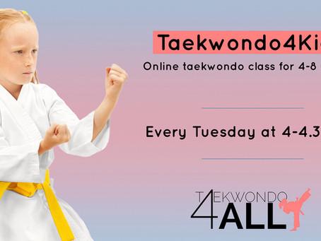 Taekwondo4Kids - class returns online from 22nd September