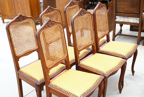 Set of 6 carved dining chairs