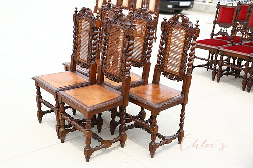 Set of 5 dining carved chairs