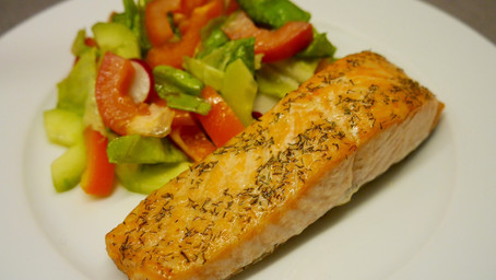 Oven-baked salmon with ghee