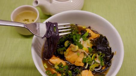 Miso salmon black rice noodles soup