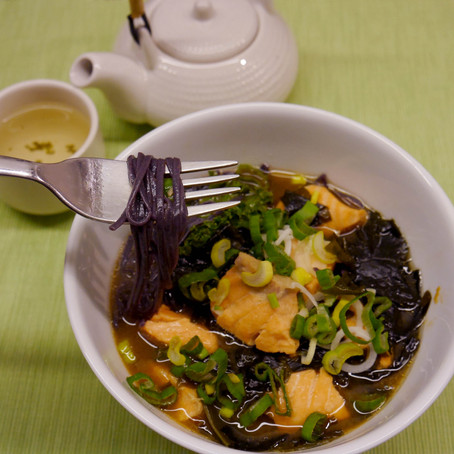 Miso salmon black rice noodles soup