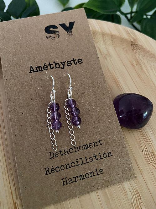 Boucles d'oreilles Ear'SY - Améthyste - Argenté