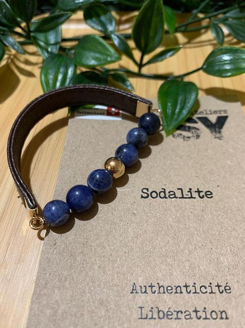 Men'SY - Sodalite/Doré/Cuir brun/16cm
