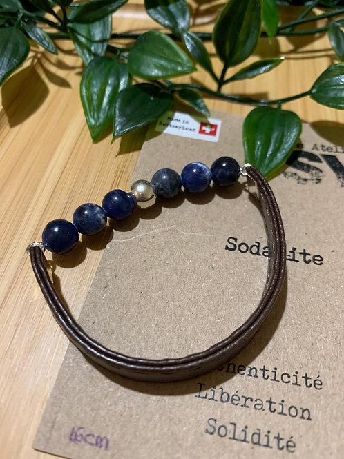Men'SY - Sodalite/Argenté/Cuir brun/16cm
