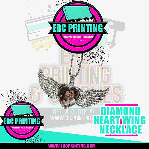 Custom Diamond Wing Heart Necklace