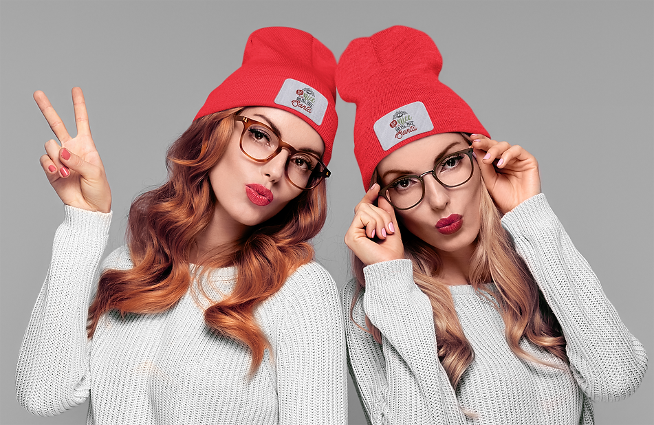 beanie-mockup-featuring-twin-sisters-in-