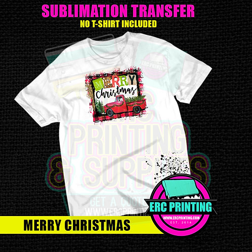 MERRY CHRISTMAS SUBLIMATION TRANSFER