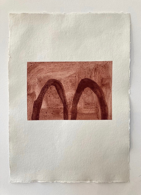 Two Forms, Icelandic earth pigment on handmade paper, 297 x 420mm