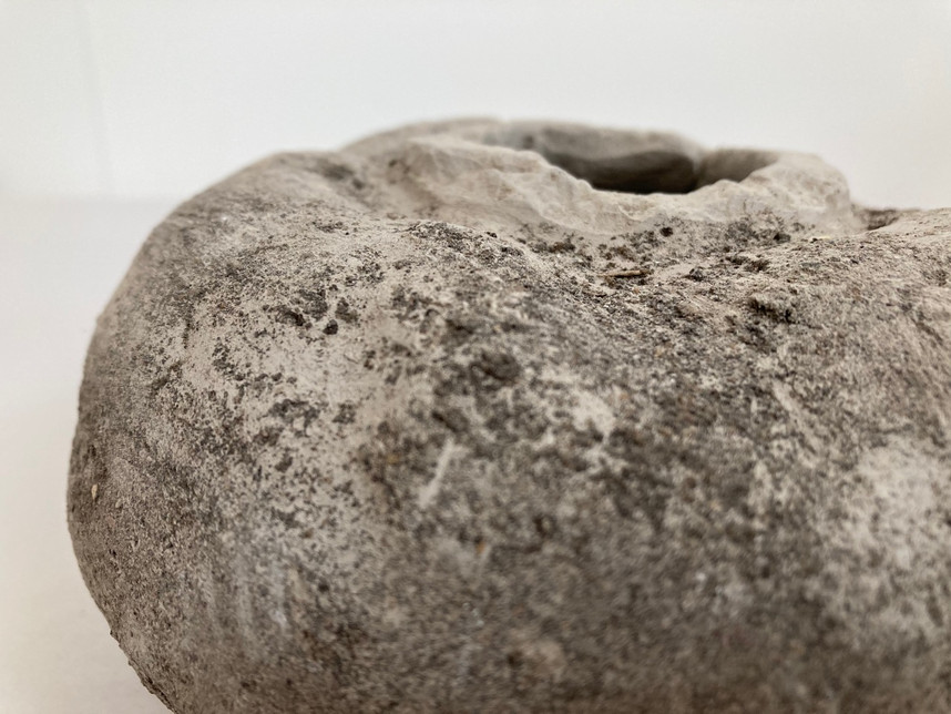 (detail) unfired clay pot rolled in earth, 210 x 90mm, 2019
