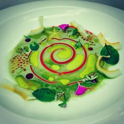 Green tea caviar  Mellon carambola raspberry gel cream