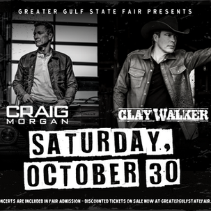 Craig Morgan and Clay Walker will be performing on The Grandstand at the 67th annual Greater Gulf State Fair!