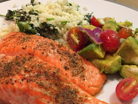 Salmon, Cauliflower Rice with Tomato-Avocado