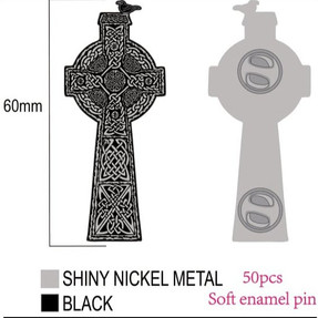 'Blackbird Cross' Enamel Pin - €10