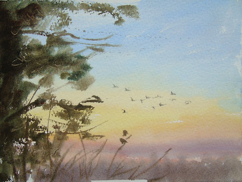 Geese flying by