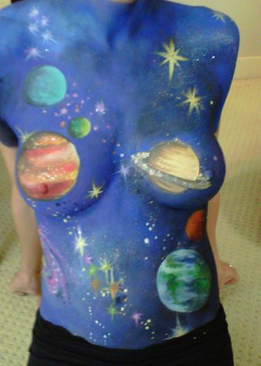 Galaxy body painting