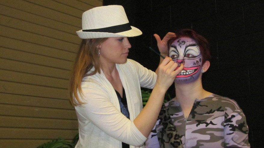 Allyson working on the Cheshire Cat for a production of Alice in Wonderland