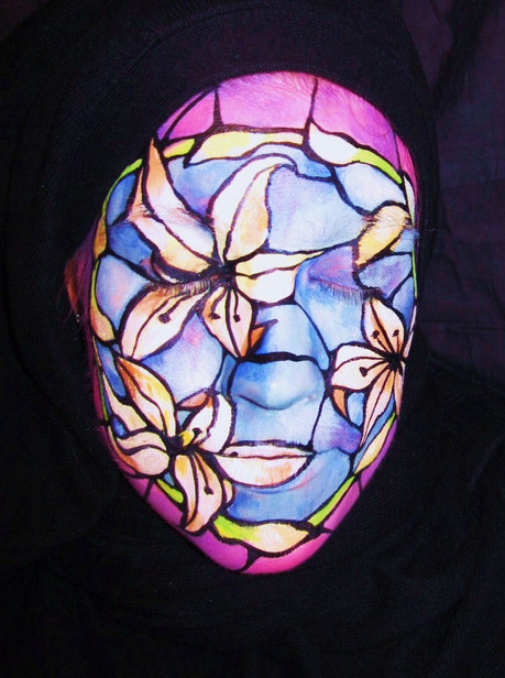Allyson created this 1st place stained glass look for an Easter designs contest with the West Coast Face and Body Painters