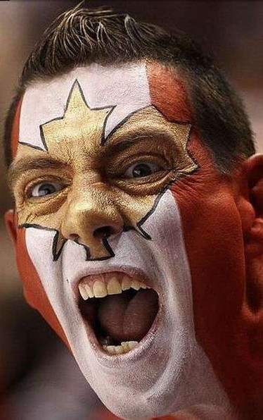A true Canadian hockey fan! This gentleman contacted us months before the 2010 Olympic Games in Vancouver and booked this custom request face paint. Sure enough, we had gold status that year for Men's Hockey and this image appeared on the cover of Maclean's magazine's Olympic edition!