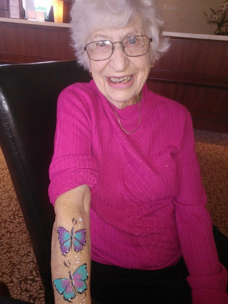 You're never too old for butterflies and arm paint! #99yearsyoung #butterflypaint