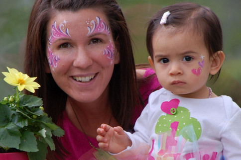 Mommy and daughter face paint. Pretty in pink!