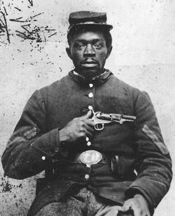 USCT soldier holding his gun