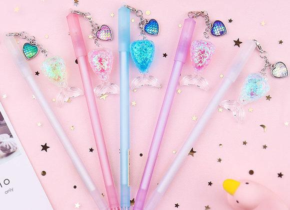 Gel Pen With Mermaid Glitter Shaker Charm