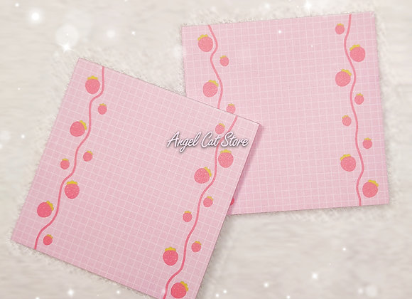 Pink strawberry checkered notepad