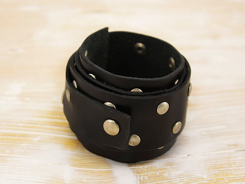 Black Wristband With Rivets