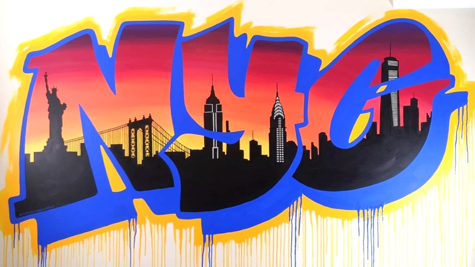 NYC Skyline Graffiti for Private Game Room