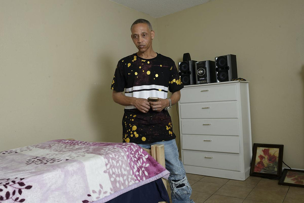 Troy Rhodes in his room at The First 72+ following his release.