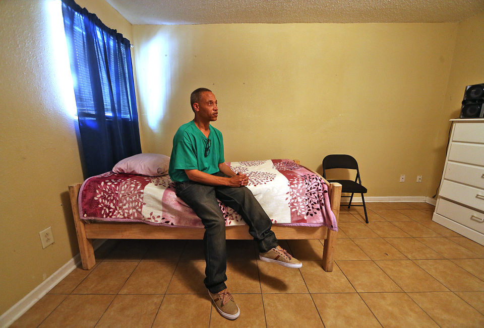 Troy Rhodes in his bedroom inside The First 72+ program building on Perdido Street on Wednesday, June 6, 2018. (Photo by Michael DeMocker, NOLA.com | The Times-Picayune)