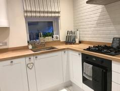 Kitchen backsplash and shelving