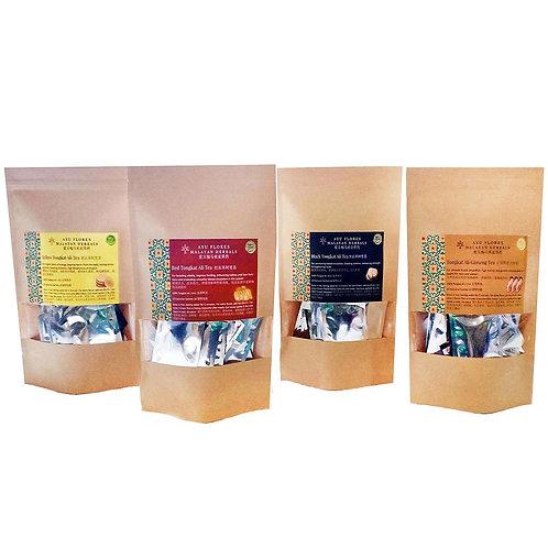 4 Types Tongkat Ali Tea Sachets (4 Gift Packs Promo) (40 Sachets Each Pack)