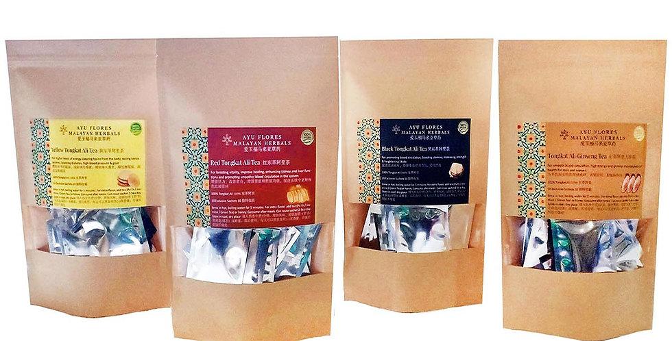 4 Types Tongkat Ali Tea Sachets (4 Gift Packs Promo) (Per Pack 40 Sachets)