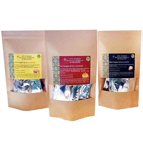 3 Types Tongkat Ali Tea Sachets (3 Gift Packs Promo) (40 Sachets Each Pack)