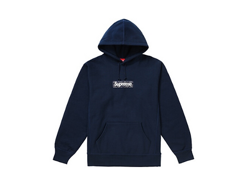 Supreme - Bandana Box Logo Hooded Sweatshirt Navy