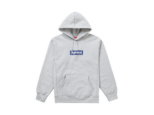 Supreme - Bandana Box Logo Hooded Sweatshirt Grey