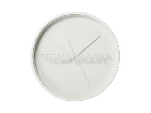 """Virgil Abloh x IKEA MARKERAD """"TEMPORARY"""" Wall Clock White"""