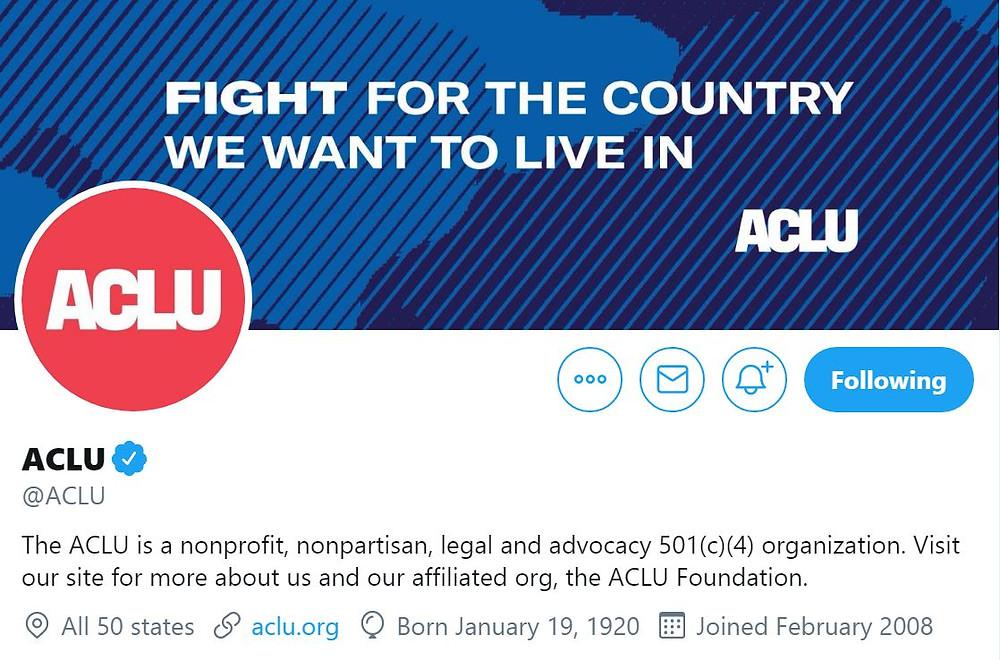 Screenshot image of ACLU's Twitter header and bio.