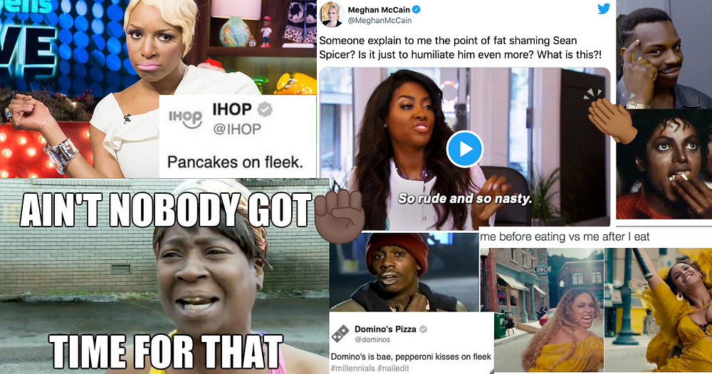 """Examples of digital blackface in memes and GIFs, including a meme of a Black woman and the text """"Ain't Nobody Got Time for That,"""" a still of a GIF of Michael Jackson eating popcorn, and a tweet from IHOP that says """"Pancakes on fleek."""""""
