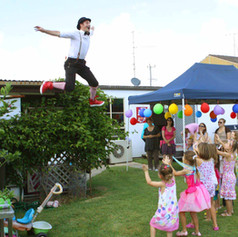 The Big entrance. Jono jumps of a roof into a birthday party.