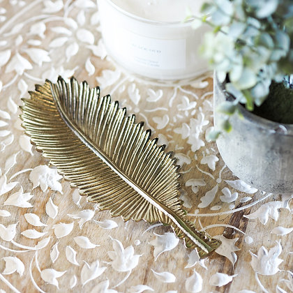 Boho Glam Brass Feather Dish