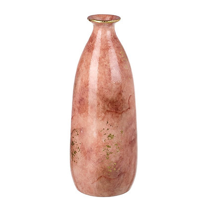 Small Pink + Gold Shimmer Marble Effect Vase