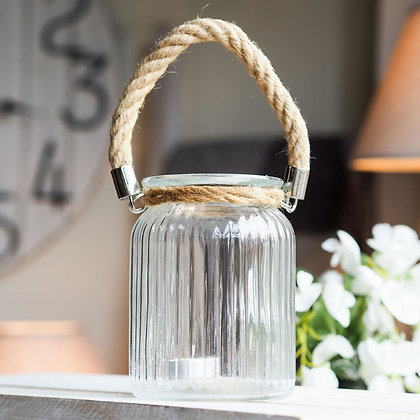 Glass Lantern With Padstow Rope Handle